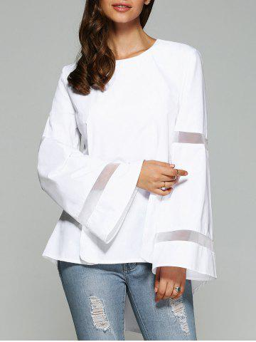 Fashion Bell Sleeve Mesh Spliced Dovetail Blouse