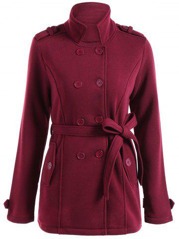 New Double Breasted Belted Coat WINE RED 3XL