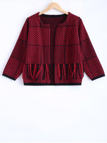 Outfit Houndstooth Tassel Sweater Coat
