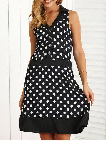Polka Dot Buttoned Loose A-Line Dress - Black - M