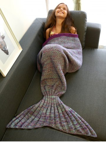 Shops Keep Warm Multi-Colored Knitted Mermaid Tail Design Blanket For Kid COLORMIX