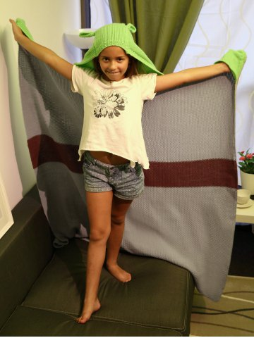Fashion Cartoon Design Color Block Knitted Blanket with Hat For Kid - GRAY  Mobile