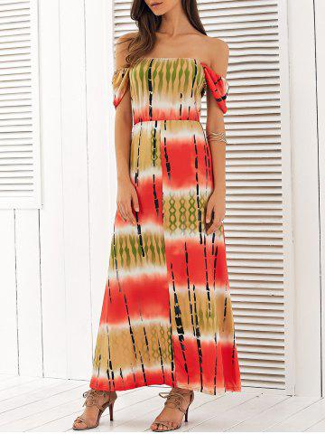 Outfit Off The Shoulder High Waist Maxi Dress