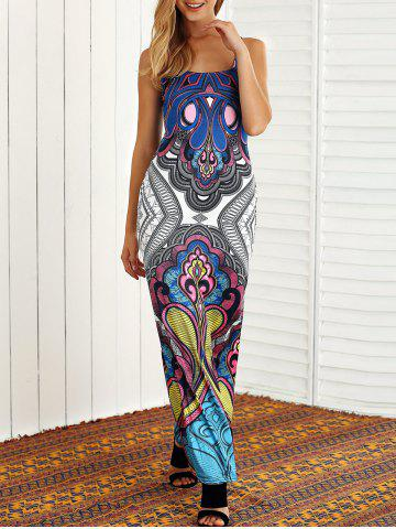 Chic Open Back Tribal Print Maxi Dress
