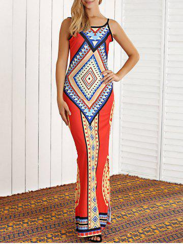 Unique Tribal Print Open Back African Maxi Dress