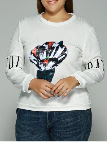 Unique Printed Letter Embroidered Sweatshirt WHITE 2XL