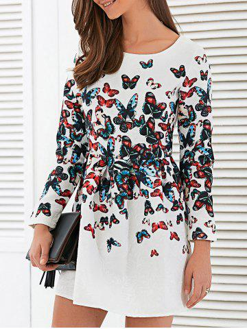 Trendy Jacquard Long Sleeve Butterfly Print Mini Dress