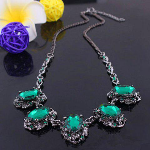 Best Faux Emerald Gemstone Oval Alloy Pendant Necklace GREEN