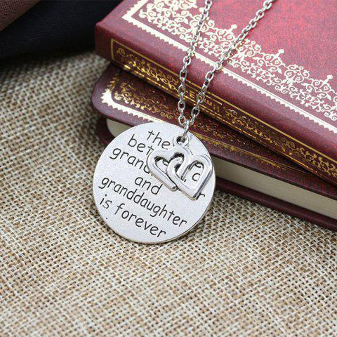 Online Engraved Love Forever Double Heart Pendant Necklace - SILVER  Mobile