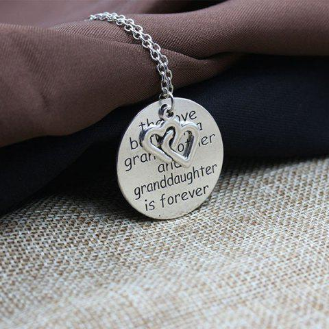 Best Engraved Love Forever Double Heart Pendant Necklace - SILVER  Mobile
