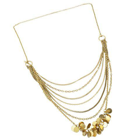 Shop Multilayered Alloy Sequins Pendant Necklace GOLDEN