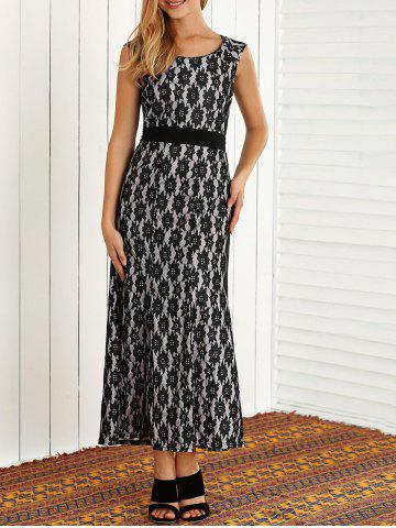 Discount Lace Floral Sleeveless Maxi Evening Prom Dress