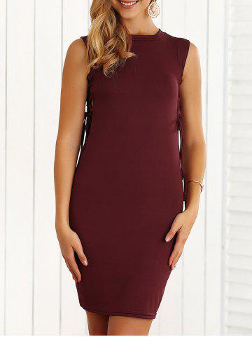 Slimming Lace-Up Hollow Out Bodycon Dress - WINE RED M