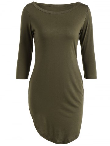 Best Casual Round Neck 3/4 Sleeve Side Slit T-Shirt Dress ARMY GREEN S