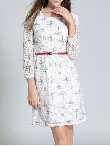 Cheap Scoop Neck Long Sleeve Belted Lace Dress