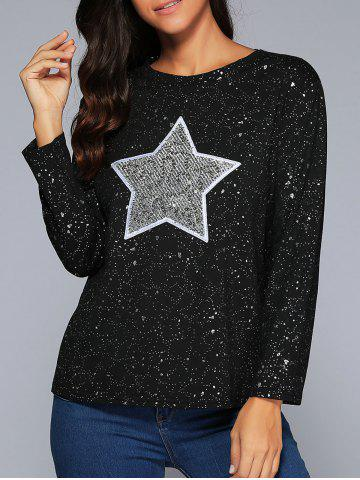 Hot Star Sequins Long Sleeve Sparkly T-Shirt BLACK 4XL
