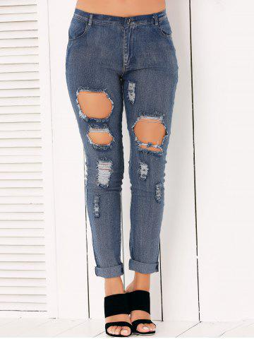 New Button Fly Ripped Pencil Jeans DENIM BLUE XL