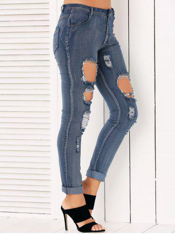 Cheap Button Fly Ripped Pencil Jeans - M DENIM BLUE Mobile