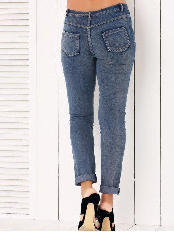 Affordable Button Fly Ripped Pencil Jeans - M DENIM BLUE Mobile