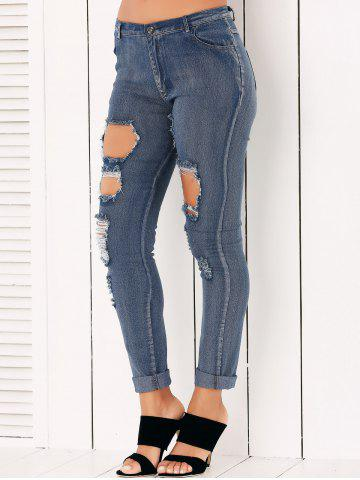 Fashion Button Fly Ripped Pencil Jeans - M DENIM BLUE Mobile