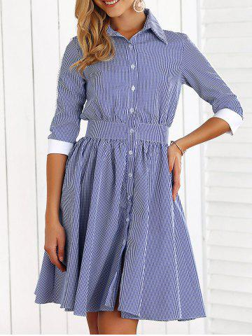 Fancy Button Down Plaid A Line Dress