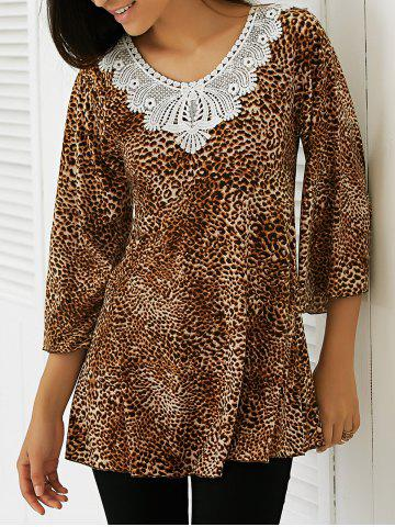 Unique Lace Patchwork Leopard Blouse