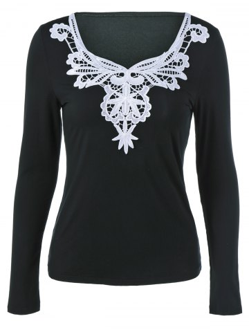 Latest Lace Splicing Long Sleeve Blouse BLACK M