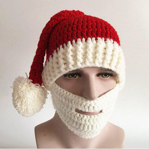 Affordable Christmas Knitted Beard Face Hat RED