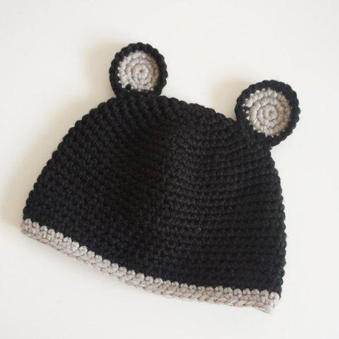 Outfit Bear Ear Knitted Animal Head Hat - BLACK  Mobile