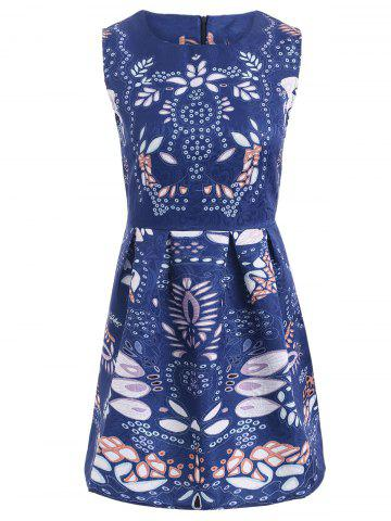 Fancy Art Leaf Jacquard Sleeveless Print Dress