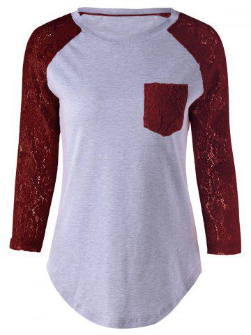 Store Plus Size Lace Splicing Single Pocket T-Shirt WINE RED 5XL