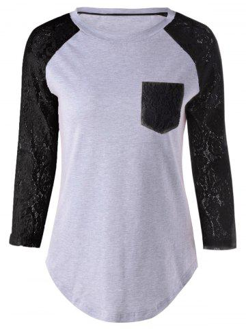 Plus Size Lace Splicing Single Pocket T-Shirt - Black - Xl