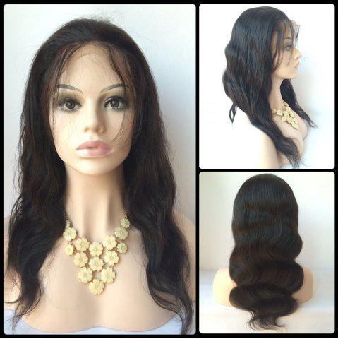 Best Faddish Long Side Bang Body Wave Lace Front Real Natural Hair Wig BLACK
