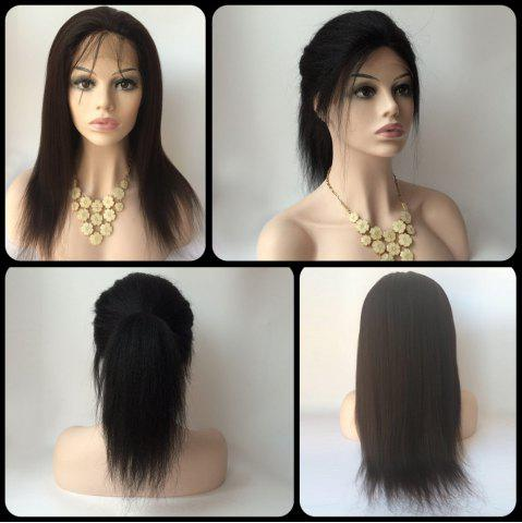 Unique Gorgeous Long Yaki Straight Side Bang Lace Front Real Natural Hair Wig