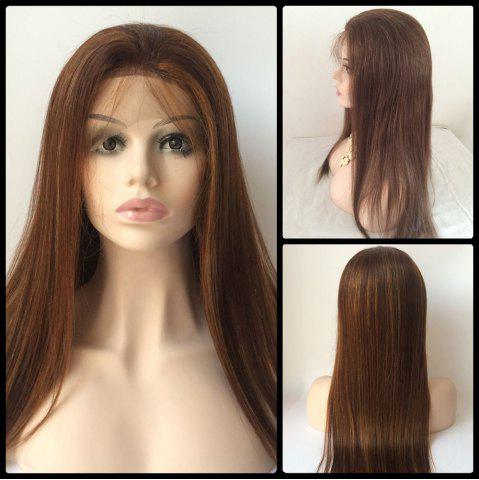 Chic Long Straight Lace Front Real Natural Hair Wig BROWN