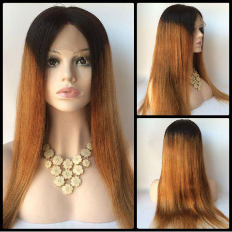 Discount Long Straight Middle Part Double Color Lace Front Real Natural Hair Wig