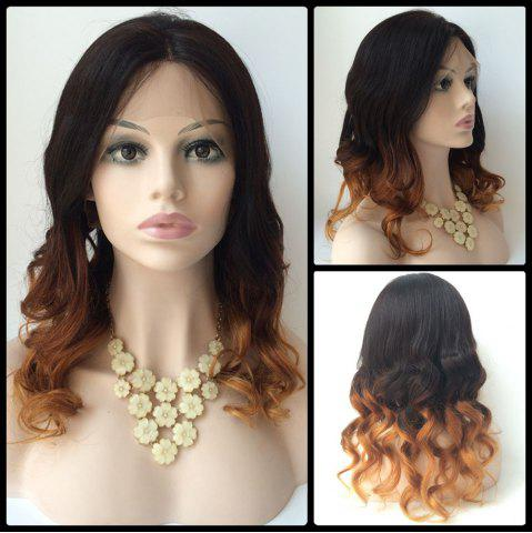 Hot Long Centre Parting Wavy Double Color Lace Front Real Natural Hair Wig