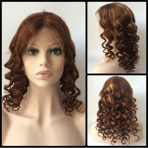 Outfit Medium Centre Parting Loose Wavy Double Color Lace Front Real Natural Hair Wig