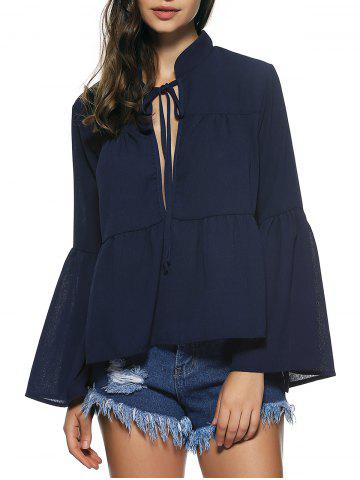 Buy Bell Sleeves Lace Up Flounce Blouse