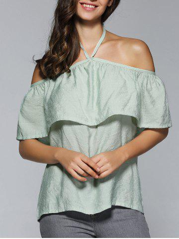 Hot Halter Neck Overlay Backless Blouse