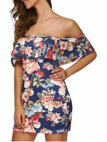 Chic Flounced Floral Print Off The Shoulder Cocktail Dress DEEP BLUE S