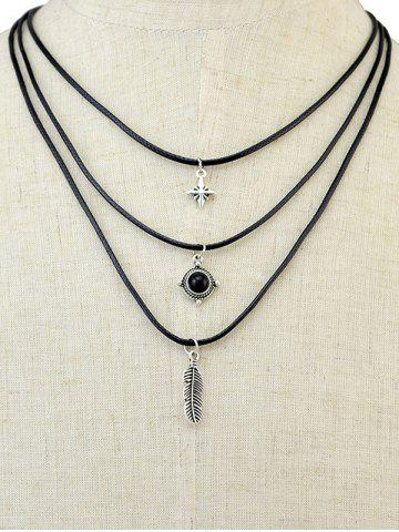 Chic Burnished Feather Faux Gem Layered Necklace