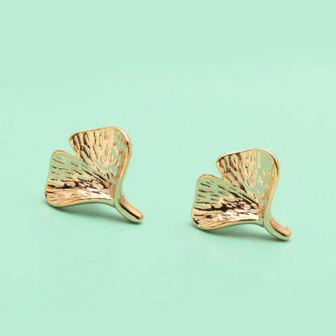Cheap Pair of Solid Ginkgo Leaf Stud Earrings