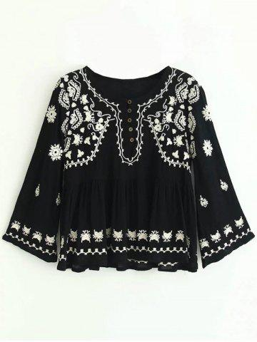 Chic Embroidered Button Design Ruched Blouse