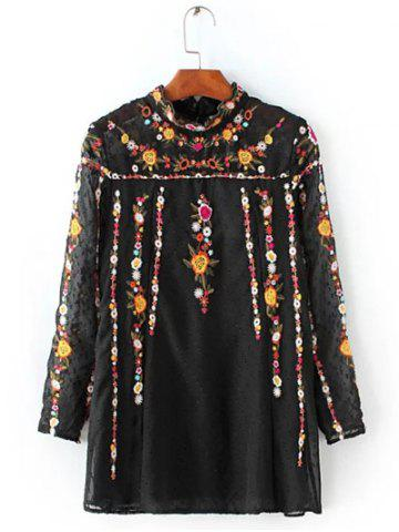 Unique Floral Embroidered Textured Blouse BLACK L