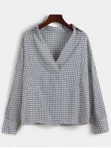 Unique Plaid Loose-Fitting Blouse