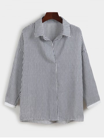Best Pinstriped Loose-Fitting Blouse