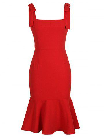 Square Collar Slimming Mermaid Prom Dress - RED XL