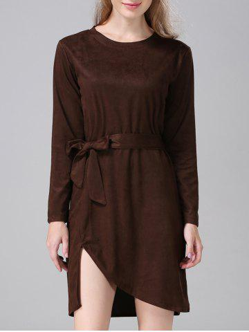 Outfits Suede Furcal Tie-Waist Dress