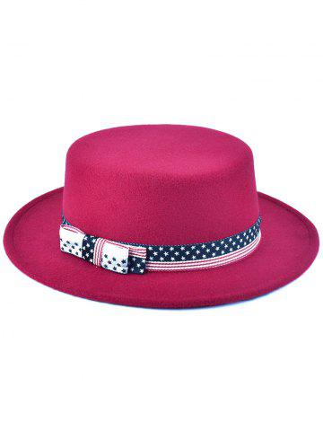New Star Striped Bowknot Flat Top Fedora Hat